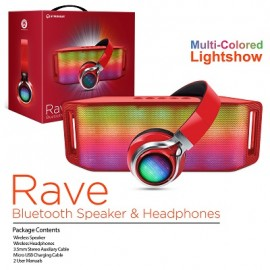 HyperGear Rave Bluetooth Speaker & Headphones - Red